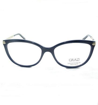 Armação de óculos Grazi Feminina Azul/Dourado GZ3027B