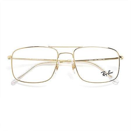 Óculos Ray Ban Metal Dourado Quadrado RB6434