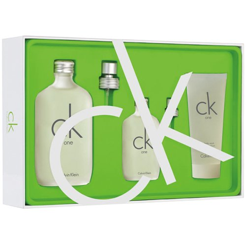Kit Ck One - Perfume 200ml + Body Lotion 200ml + Shower Gel 100ml - Miniatura 15ml