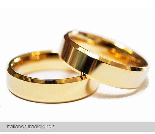 Par de alianças de ouro 18k, modelo italiano