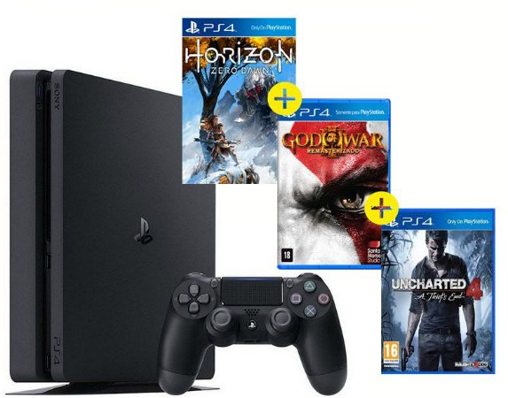 Ps4 500gb + Horizon Zero Dawn + God Of War 3 +  UC4