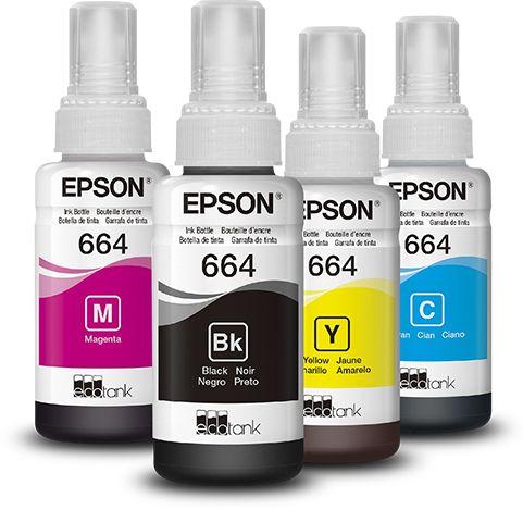 Refil Tintas Epson kit 4 Cores 664 T644 L375 L365 Originais