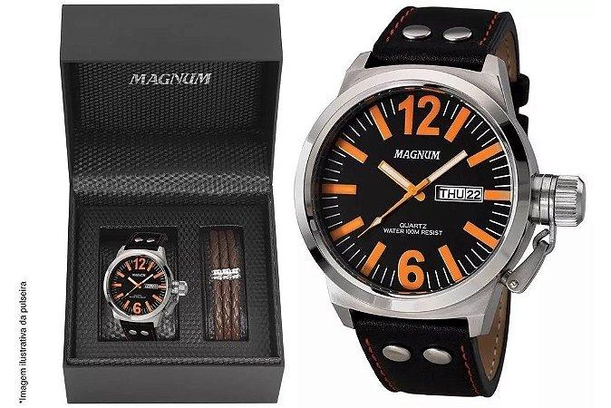 1159a2212aa Relógio Magnum Masculino MA31524C Kit pulseira de couro - Relojoaria ...