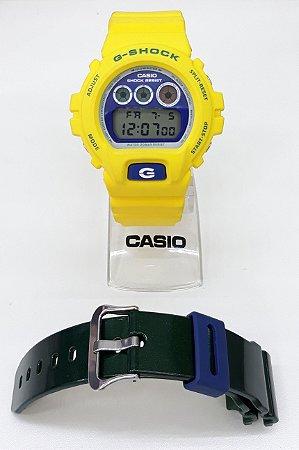 RELOGIO CASIO G-SHOCK DW-6900BRASIL-9DR DIGITAL + PULSEIRA ADICIONAL VERDE