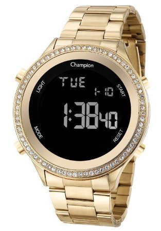 Relógio Champion Feminino Digital CH40222H Aro com Zircônias