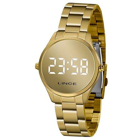 Relógio Lince LED Espelhado Dourado MDG6417L