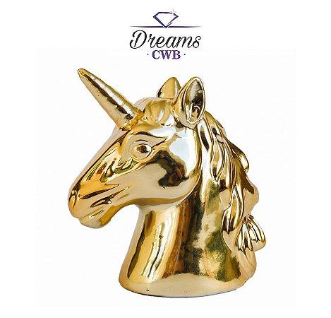 Cofre Busto Unicornio Cromado Dourado - Decoração
