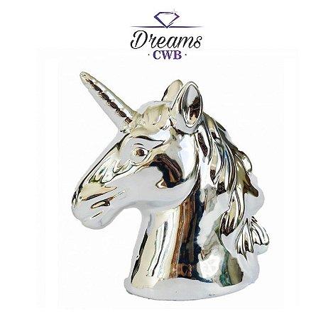 Cofre Busto Unicornio Cromado Prateado - Decoração