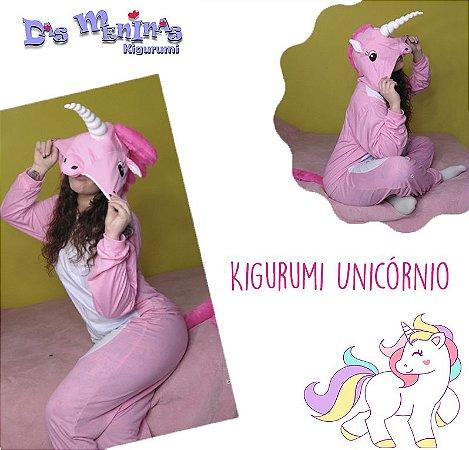 Kigurumi Unicórnio - M Adulto Rosa