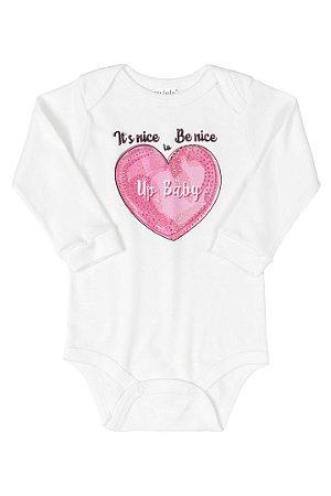 BODY MANGA LONGA EM SUEDINE 000101 BRANCO ESPECIAL - UP BABY