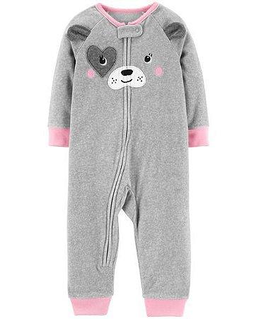 1069b9a7f6f8ee Pijama Macacão Cachorro Menina Fleece Cinza Sem Pezinho - Carter's