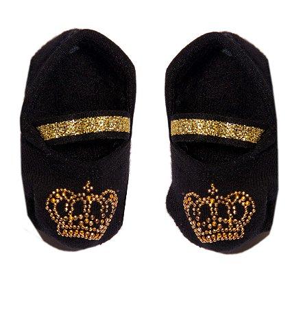 Par de Meias Sapatilha Preta Coroa - Puket