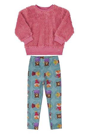 Conjunto Blusão em Pelo e Calça em Malha Flanelada 171736 - Up Baby