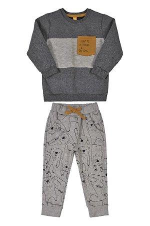 Conjunto Blusão e Calça em Moletom Mescla Preto 000090 - Up Baby
