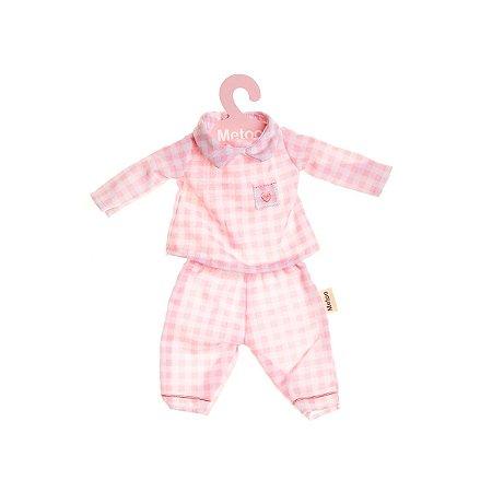 Roupa de Boneca Pijama Rosa com Cabide - Metoo