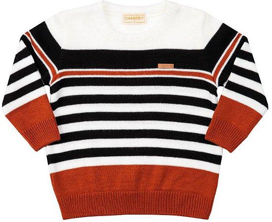Suéter Bebê em Tricô Listras Menino - Charpey