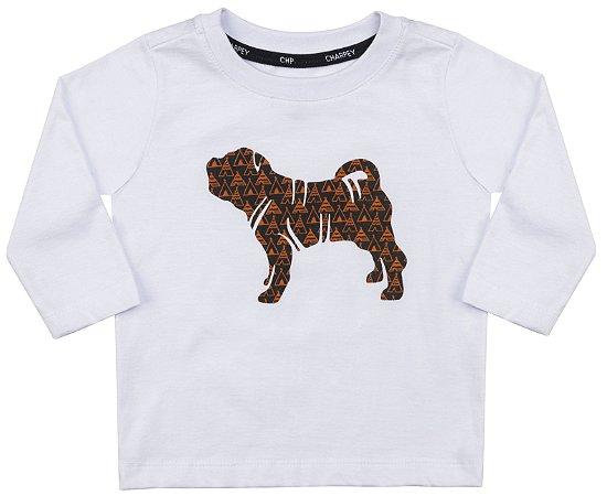 Camiseta Bebê Manga Longa Branca Estampa Cachorro Menino - Charpey