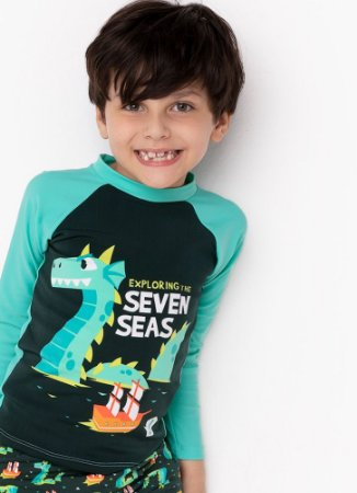 CAMISETA KIDS DRAGAO VERDE