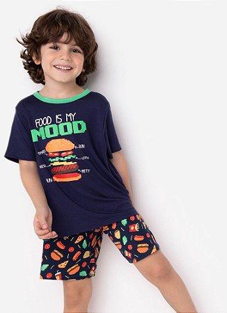 SHORT DOLL KIDS VISCO ECO FOOD PIXEL AZUL MARINHO