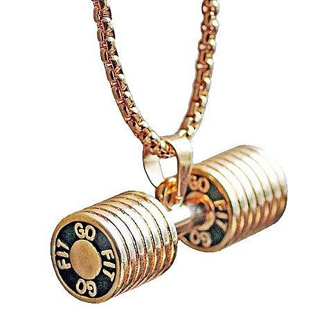 Colar com pingente dumbbell-folheado ZSE Jewelry