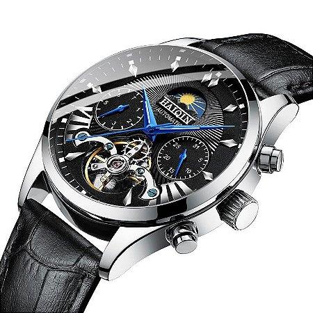 Relógio Automático Haiqin 8509 Pulseira de Couro