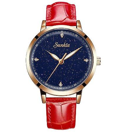 Relógio Sunkta Luxury Estrelado Pulseira de Couro