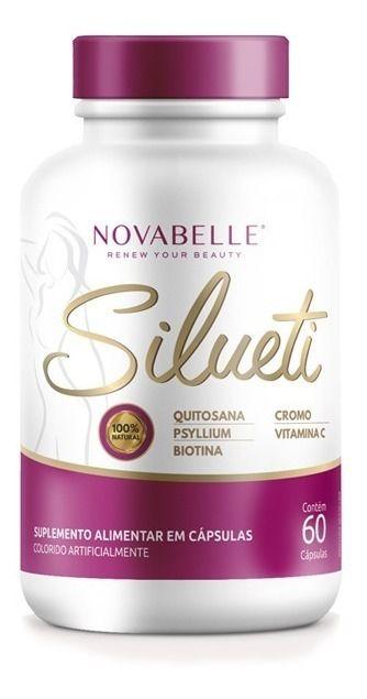 Emagrecedor Silueti com 60 Cápsulas - quitosana, Psilium, Biotina, Cromo e Vitamina C