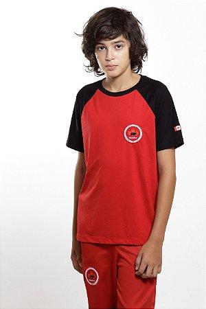 Camiseta Masculina Manga Curta Preta/Vermelha Maple Bear Fundamental