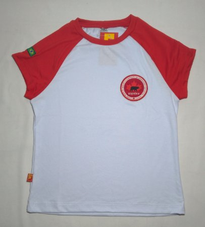 Camiseta Feminina Manga Curta Branca/Vermelha Maple Bear Fundamental