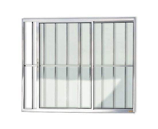 Janela de Correr 2 Folhas c/ Grade em Alumínio Brilhante c/ Vidro Liso - Brimak Confort