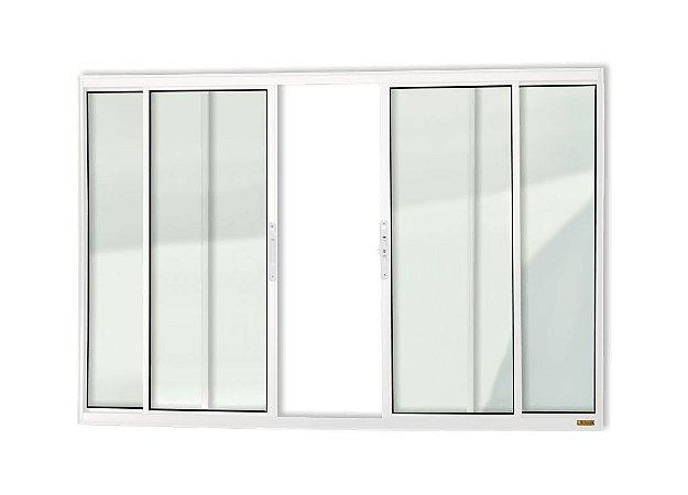 Janela de Correr 4 Folhas s/ Grade em Alumínio Branco c/ Vidro Liso - Brimak Confort