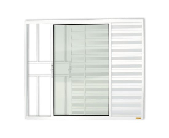 Veneziana 3 Folhas c/ Grade em Alumínio Branco c/ Vidro Liso - Brimak Confort