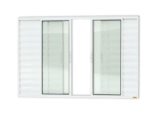 Veneziana 6 Folhas Sem Grade em Alumínio Branco c/ Vidro Liso - Brimak Confort