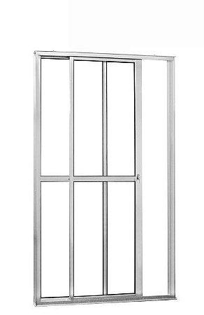Porta de Correr em Alumínio Branco 2 Folhas Uma Fixa Vidro Liso Com Fechadura - Linha 25 Trifel