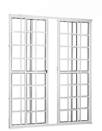 Porta de Correr em Alumínio Branco Quadriculada 4 Folhas Vidro Liso Com Fechadura - Linha 25 Trifel
