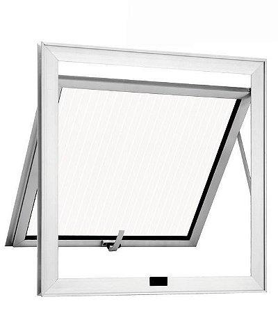 Janela Maxim-ar em Alumínio Brilhante uma Seção Vidro Canelado - Linha 25 Trifel