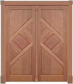 Porta de Abrir (Giro) Trapézio 240 C/ 2 Folhas em Madeira Cedro Arana S/ Ferragem Batente 14 Cm - Casmavi