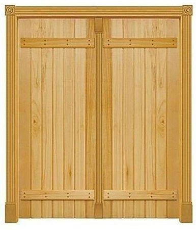 Porta de Abrir 2 Folhas em Madeira Cedro Arana Mexicana Diagonal Com Trava Externa Montada no Batente de 14 Cm Sem Ferragem - Casmavi