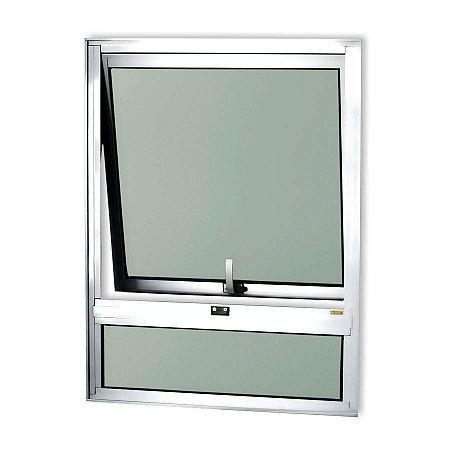 Maxim-Ar 1 Seção c/ Bandeira Fixa Inferior em Alumínio Brilhante c/ Vidro Mini Boreal - Brimak Confort