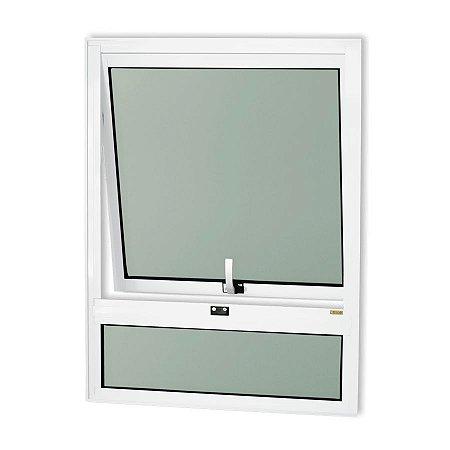 Maxim-Ar 1 Seção c/ Bandeira Fixa Inferior em Alumínio Branco c/ Vidro Mini Boreal - Brimak Confort