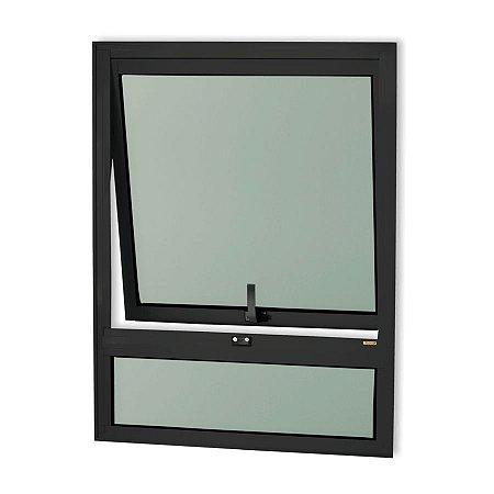 Maxim-Ar 1 Seção c/ Bandeira Fixa Inferior em Alumínio Preto c/ Vidro Mini Boreal - Brimak Confort