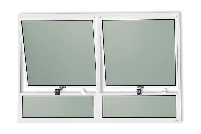 Maxim-Ar 2 Seções c/ Bandeira Fixa Inferior em Alumínio Branco c/ Vidro Mini Boreal - Brimak Plus