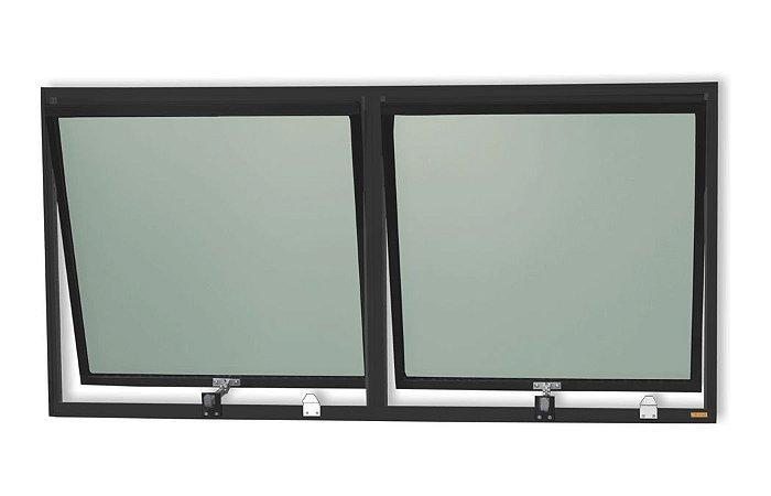 Maxim-Ar 2 Seções em Alumínio Preto c/ Vidro Mini Boreal - Brimak Plus
