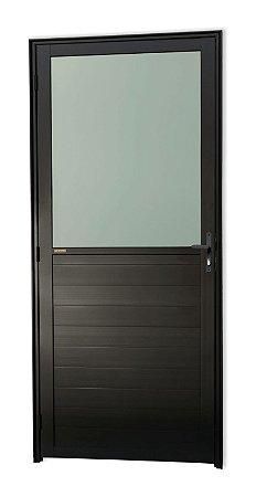 Porta Meia Lambril Meia Vidro em Alumínio Preto C/ Vdr. Mini Boreal - Brimak Super 25
