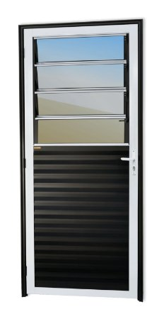 Porta Basculante em Alumínio Mix Preto c/ Vidro Mini Boreal - Brimak Super 25