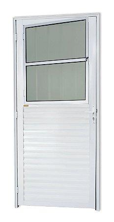 Porta de Sala Social c/ Grade em Alumínio Branco c/ Vidro Mini Boreal - Brimak Super 25
