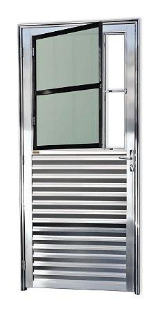 Porta de Sala Social c/ Grade em Alumínio Brilhante c/ Vidro Mini Boreal - Brimak Super 25