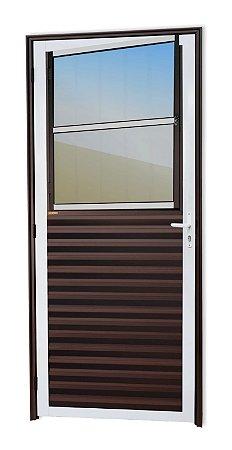Porta de Sala Social c/ Grade em Alumínio Mix Corten c/ Vidro Mini Boreal - Brimak Super 25