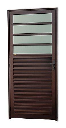 Porta de Cozinha 4 Vidros Fixos em Alumínio Corten c/ Vidro Mini Boreal - Brimak Super 25