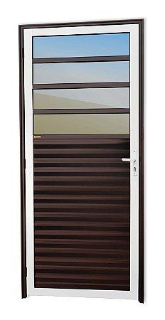 Porta de Cozinha 4 Vidros Fixos em Alumínio Mix Corten c/ Vidro Mini Boreal - Brimak Super 25